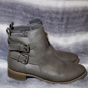 Gray Old Navy Ankle Boots with Buckle Detail